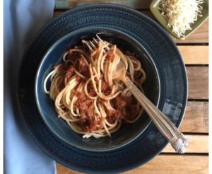Walnut Bolognese Sauce with Spaghetti